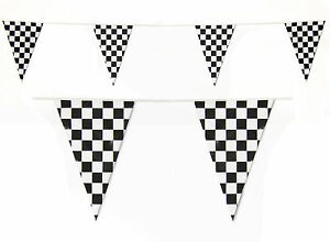 Bunting-Checked-Flag-Check-10m-Black-White-Motor-Racing-Finish-Line-Checkered