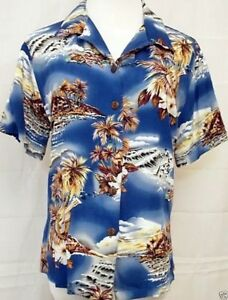 Hilo-Hattie-Hawaiian-Shirt-Floral-Ukulele-Palm-Trees-Short-Sleeve-Women-039-s-Large