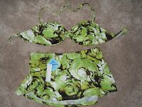 Spiegel Green& Brown Floral Skirted Bandeau Bikini, Size 10,