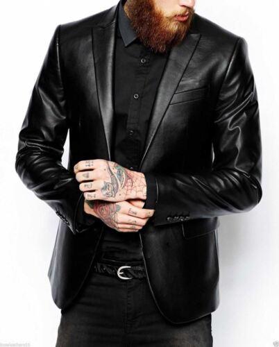 Mens Black Leather Blazer Jacket Genuine Real Lambskin Leather Coat