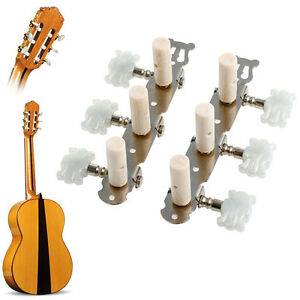 classical guitar string tuning pegs keys machine heads tuners white one pair ebay. Black Bedroom Furniture Sets. Home Design Ideas
