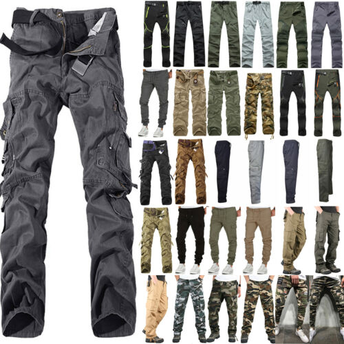Military Men Cargo Long Pants Work Combat Hiking Sports Pocket Outdoor Trousers