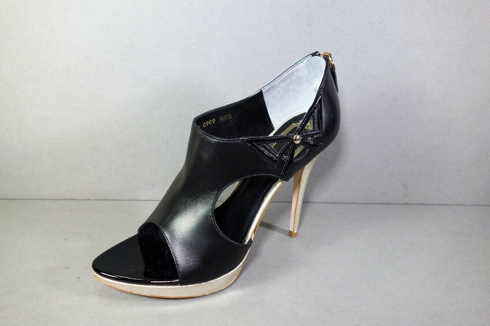 DIOR 38.5 Black Black Black Leather LOLITA Peep Toe gold Platform Sandals Pumps Booties NEW cbc41b