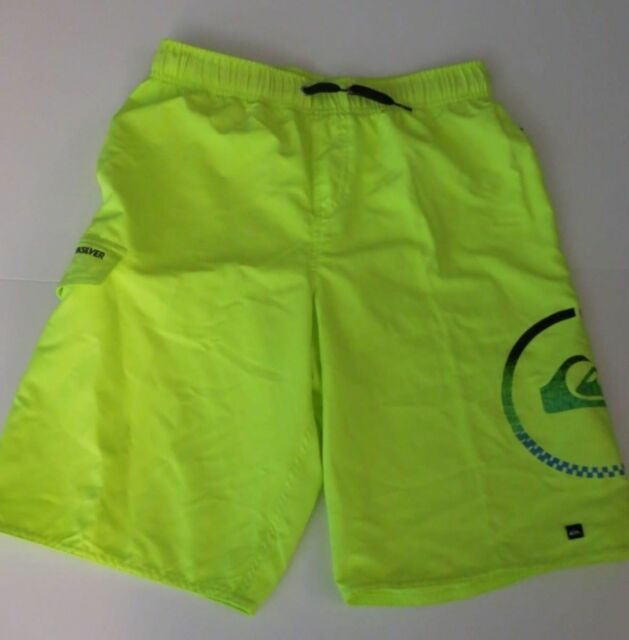 00e6770b7d Quiksilver Big Boys XL Board Swim Trunks Shorts Mesh Lined Neon Yellow Logo