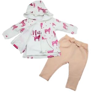 Neu Warm Babyset 3tlg Starterset Erstlingsset Weste Mädchen Rosa Weiß 62 68 74