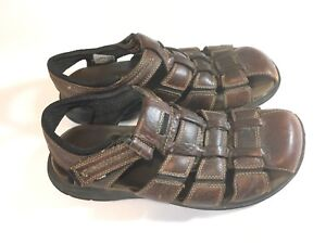 Clarks-Men-s-Sandals-Strap-Sz-10-M-Distressed-Brown-Casual-Leather