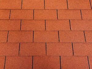 Dachschindeln-9-m-Rechteck-Form-Ziegelrot-3-Pakete-Schindeln-Dachpappe
