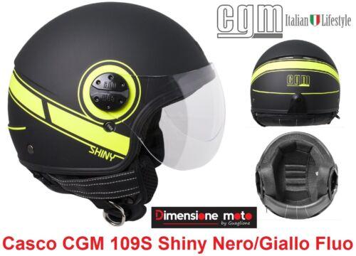 Casco D//JET Visiera Sagom CGM 109S Shiny Nero Opaco//Giallo Fluò Taglia XL 59 cm