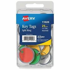 Avery 11020 Key Tags 125 Diameter Tag Metal Split Ring Assorted Colors