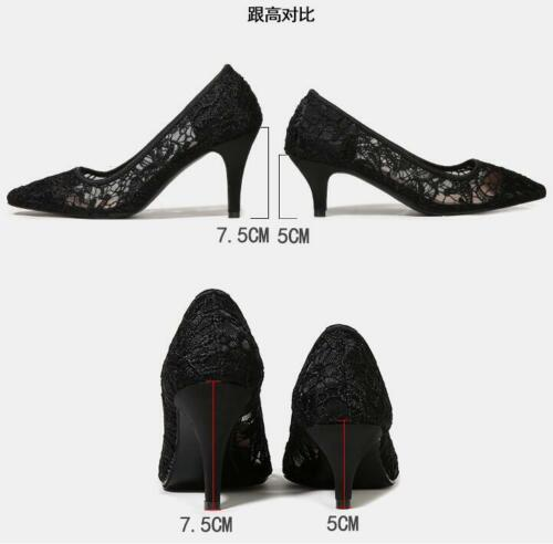 Lace High Heels Lady/'s OL Pumps Shoes Mesh Pointed Toe Party Shoes clubwear
