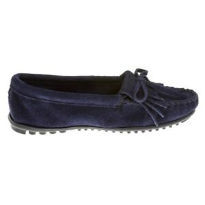 Minnetonka-Moccasins-Handmade-409T-Women-039-S-Kilty-Hardsole-Storm-Blue-Suede