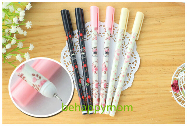 12pcs Korean Stationery Gorgeous Flowers Gel Ink Pens/Rollerball Pens-0.38mm