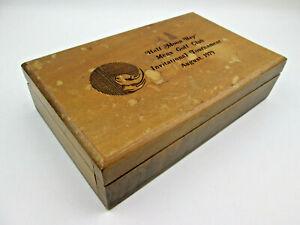 DISTRESSED-Walnut-Wood-Box-1979-Half-Moon-Bay-Mens-Golf-Club-Tournament-Vintage