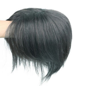 Silk-Straight-100-Remy-Human-Hair-Topper-Toupee-Hairpiece-Top-piece-with-Bangs