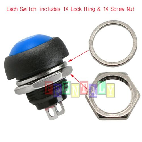 10X Color M4 12mm Waterproof Momentary ON//OFF Push Button Round SPST Switch