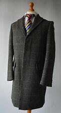 Mens Grey Rocha John Rocha Herringbone Check Patterned Wool Blend Coat Size M.