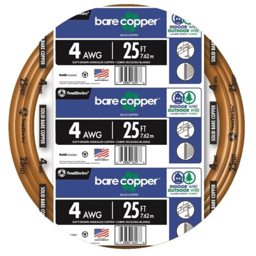 25-Ft Roll 4 AWG Gauge Electrical Solid Soft Drawn Ground Bare Pure Copper Wire