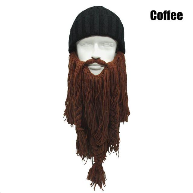 5ee049dd7ef Men Wool Beard Beanie Face Mask Crochet Winter Ski Cosplay Prop Caps ...