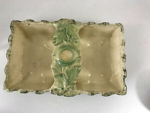 Vintage McCoy Pottery CENTERPIECE CANDLE PLANTER GREEN/CREAM with GRAY glaze