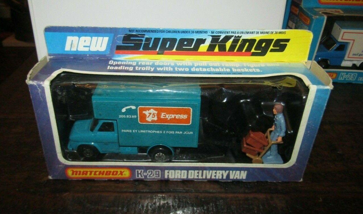 MATCHBOX SUPERKINGS K-29 Ford Delivery Van 75 express rare french variation En parfait état, dans sa boîte