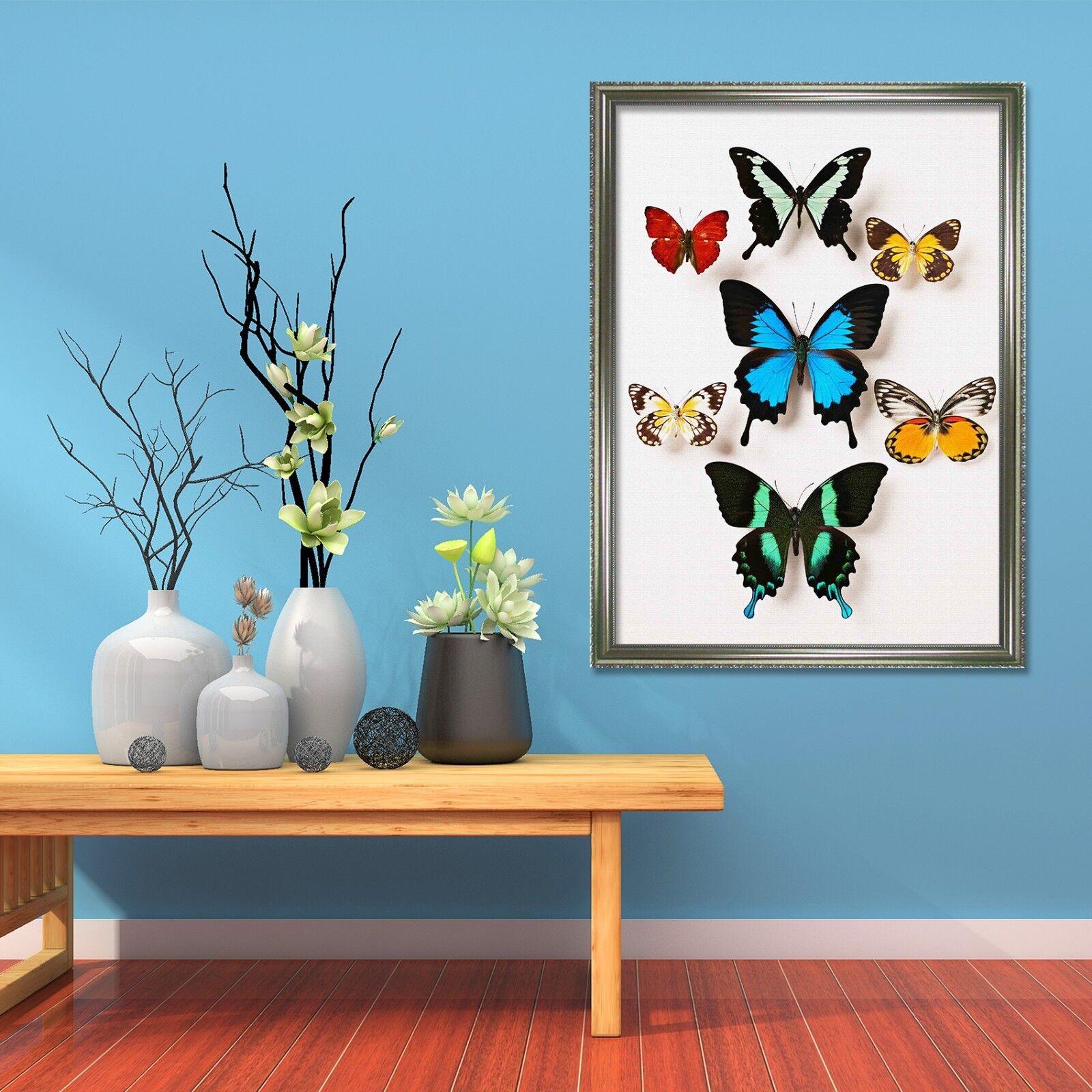 Cartel enmarcado 3D Color Mariposas 33 Decoración del Hogar Pintura de Impresión Arte AJ Wallpaper