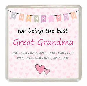 3ed57c15720 Details about GREAT-GRANDMA Coaster 'Thank You For Being The Best Ever'  Drink Mat Novelty Gift