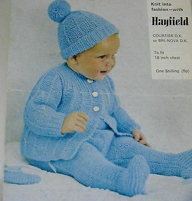 "2029 BABIES DK HOODED COAT MITTS /& PANTS 14-18/"" 35-50cm VINTAGE KNITTING PATTERN"