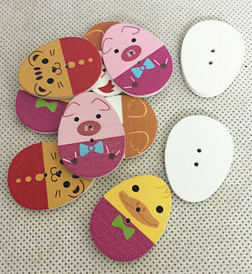 10pcs mix Cute Egg Pattern Wooden Buttons Fit Sewing and Scrapbook