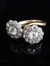 EDWARDIAN 18CT PALLADIUM NATURAL OLD MIND CUT DIAMOND CLUSTER TWIST RING- 1.40CT