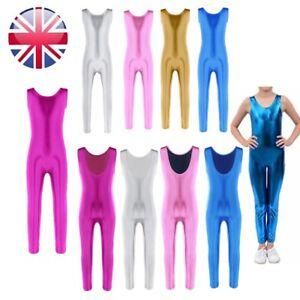 UK-Girls-Dance-Leotard-Kids-Sport-Gymnastics-Catsuit-Jumpsuit-Unitard-Dancewear