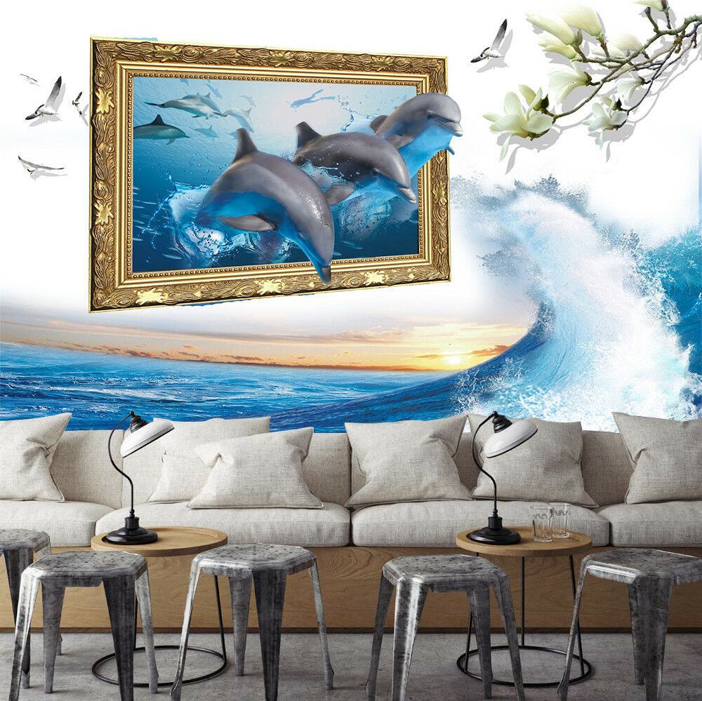 3D Dolphin Jump 428 Wallpaper Murals Wall Print Wallpaper Mural AJ WALLPAPER UK