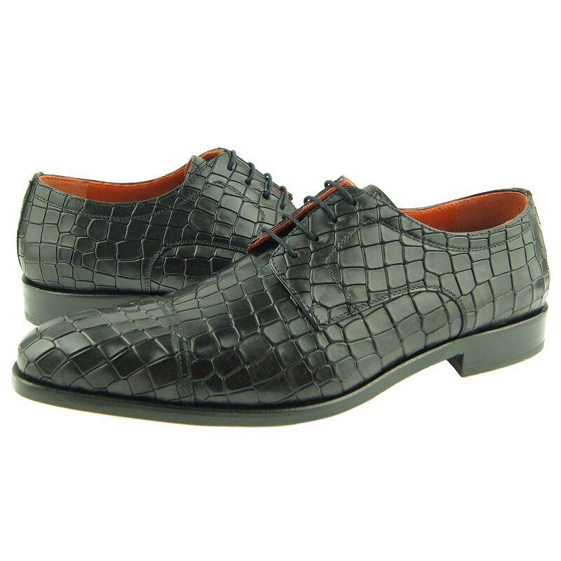 caldo Lorens Lorens Lorens  Fabio  Cap Toe Derby, Crocodile Print Uomo Dress scarpe, grigio  sconto prezzo basso