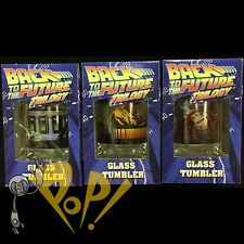 Back to the Future Trilogy TUMBLER Glass SET in Boxes 1 2 3 Marty Doc Delorean!