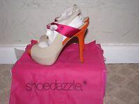 Shoedazzle Anna Peep Toe Slingback Heels Pumps Nude/orange Women's Size 7.5