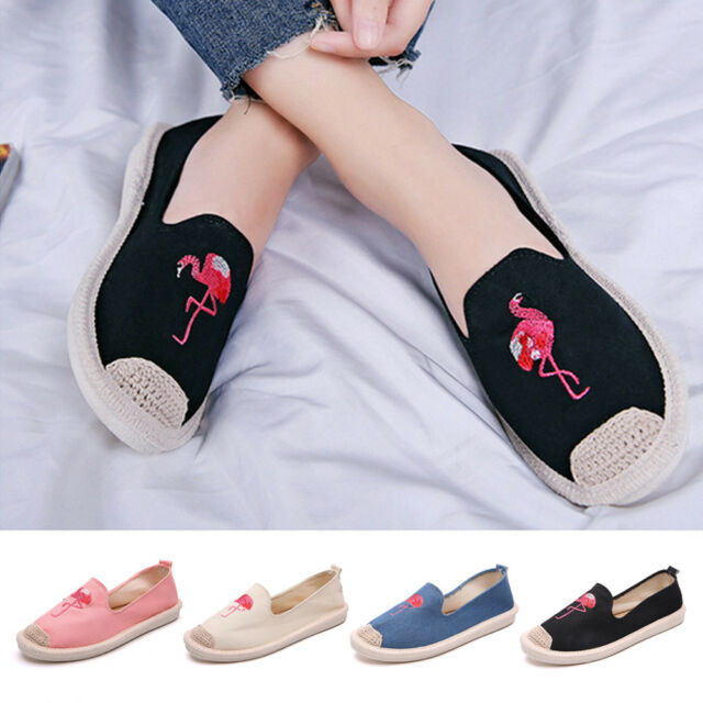Soludos Flamingos Summer Embroidered Canvas Shoes For Flats Casual Women Shoes