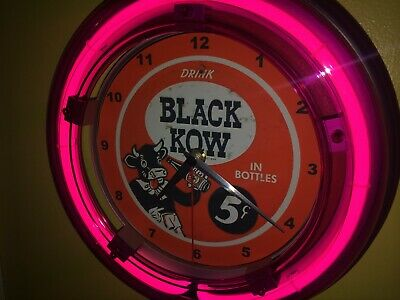 Black Kow Cow Soda Fountain Diner Advertising Man Cave Neon Wall Clock Sign  | eBay