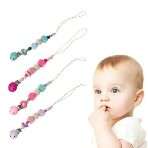 For Lovely Baby Chew Pacifier Clip Teething Dummy Wooden Soother Silicone Holder