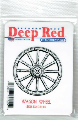 Deep Red Stamps Wagon Wheel Rubber Cling Stamp