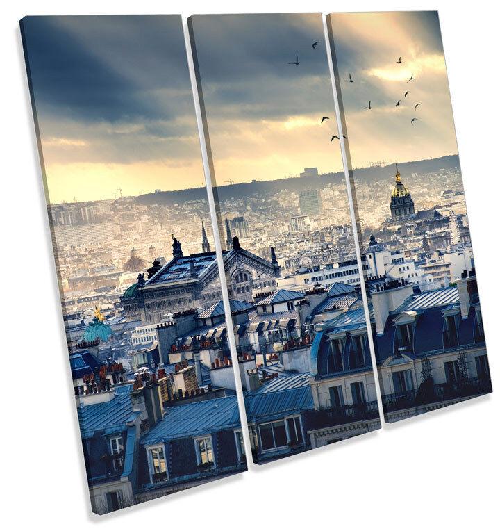 Paris Skyline Skyline Skyline Cityscape CANVAS WALL ART TREBLE Square Print Picture 9fa63a