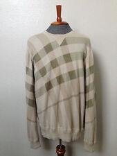 $350 BURBERRY BRIT Designer Beige Check Cashmere Cotton Crewneck Sweater XXL 2XL
