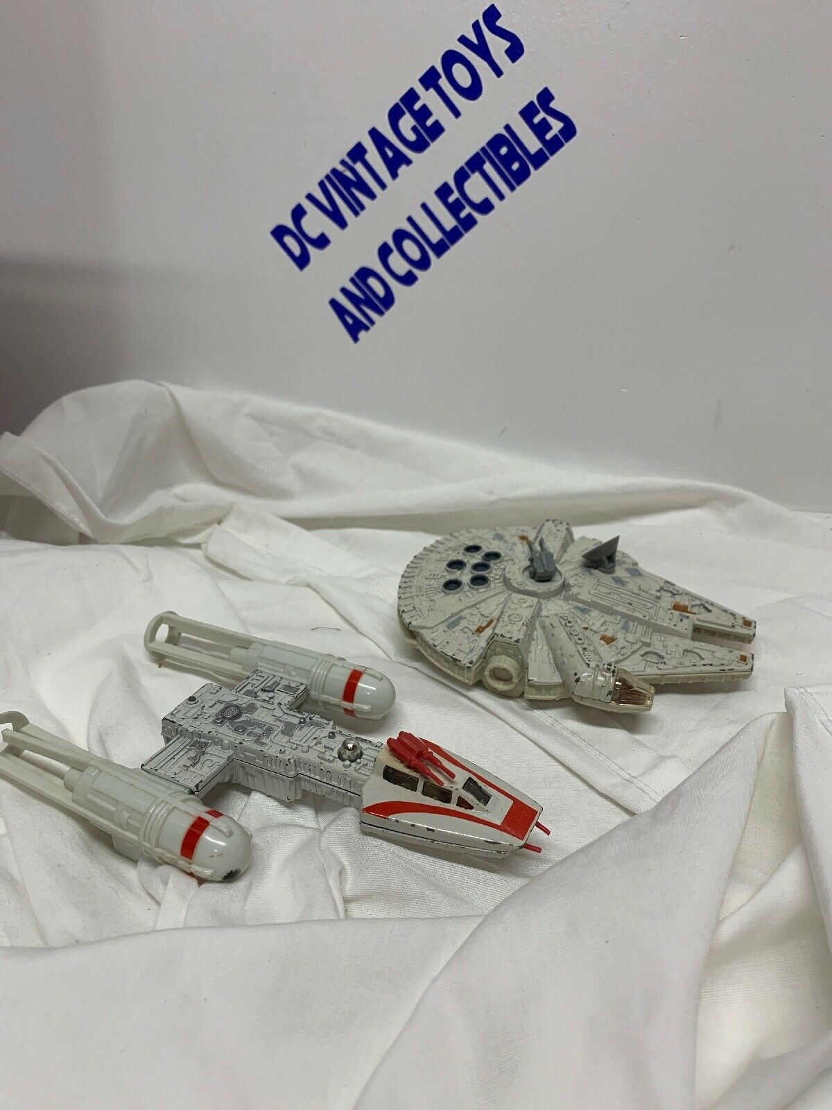 STAR WARS VINTAGE Y-WING FIGHTER & Millennium Falcon Lot -2 DIE CAST VEHICLE