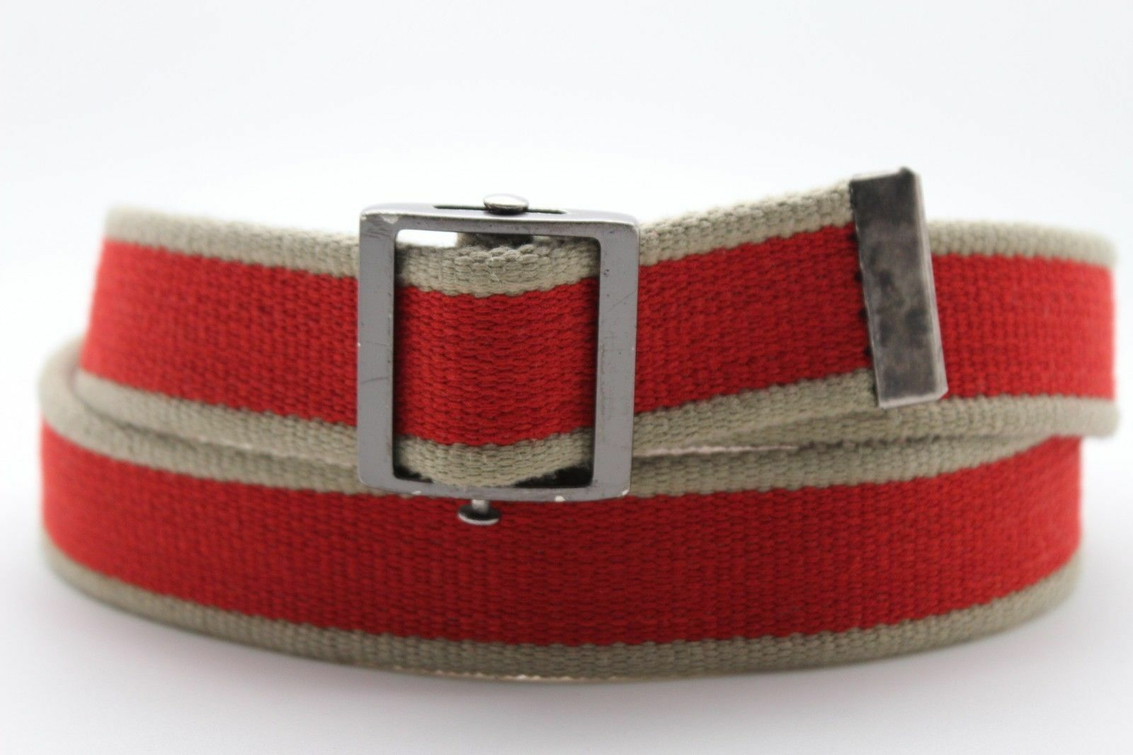 Herren Damen Braun-Beige Rot Mode Stoff Gürtel Militär Zinn Metallschnalle S M