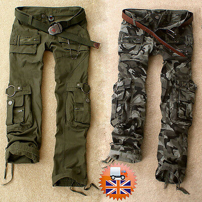 Women's Cargo Pants Casual Trousers Military Combat Army CAMO Shorts Pattern dg
