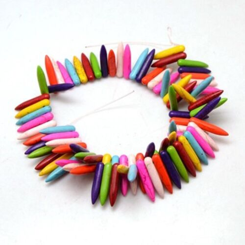 L010 Synthetic Howlite Beads Bullet Tusk Shape 25mm Hole 1mm