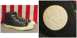 54f73d78b38b1 Details about Vintage 1950s Bata Black Canvas Basketball Sneakers Baseball  Side Badges 9.5 NOS