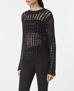 Knit Saints Sweater Sequin Small open Black Alyse Crochet Size All dpwXqd