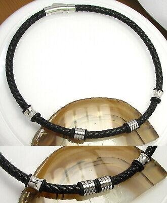 Kikuchi Damen Lederhalsband geflochten 42cm schwarz Halskette Edelstahl Beads