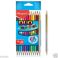 Helix Maped Colour Peps DUOPencil Double Ended Crayons Pencils Pack of 12