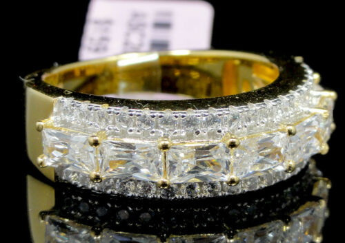 Mens Baguette /& Round Cut Yellow Gold Tone Sterling Silver Wedding Ring Band 7mm