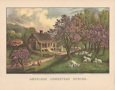 "1952 Vintage Currier /& Ives /""AMERICAN HOMESTEAD SUMMER/"" LOVELY COLOR Lithograph"